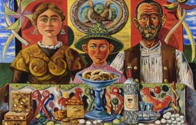 """ARTE. Imagen de la obra a subasta """"Personajes y bodegón"""", de Rafael Zabaleta."""