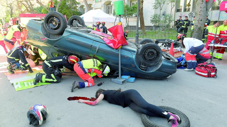 Simulacro de accidente de tráfico